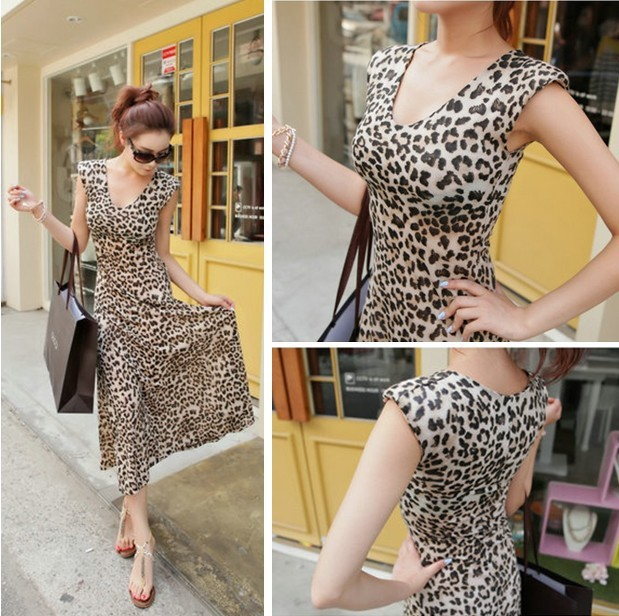 2017 Hot Summer Women Leopard Dress Female Body Fit Long Beach Lady Y Retro