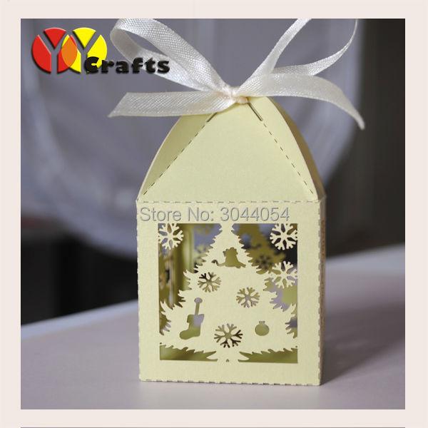 Счастливое Рождество зеленый лазерная резка елки сувенир Подарочная коробка конфет различных цветов