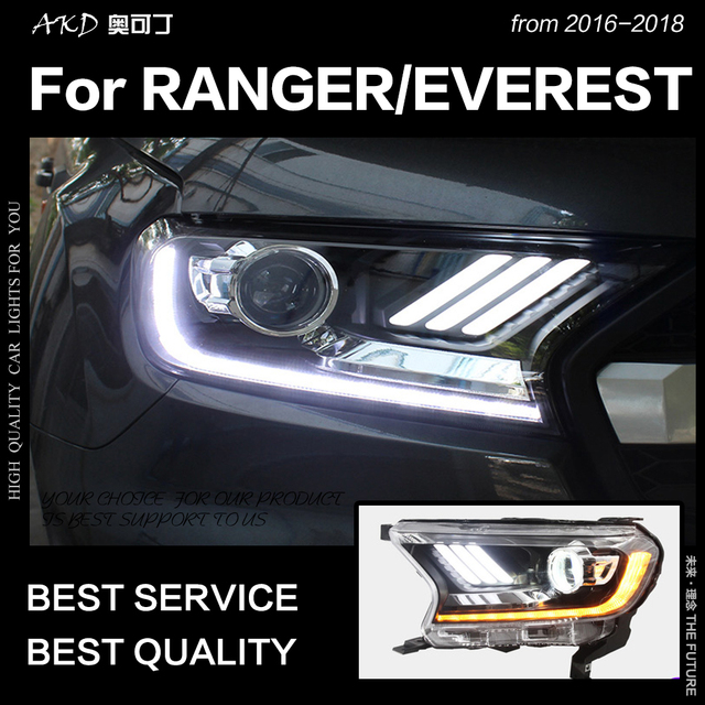 AKD Car Styling for Ford Everest Ranger Headlights 2016-2018 Dynamic Turn Signal LED Headlight DRL Hid Bi Xenon Auto Accessories