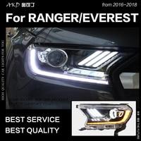 AKD Car Styling for Ford Everest Ranger Headlights 2016 2018 Dynamic Turn Signal LED Headlight DRL Hid Bi Xenon Auto Accessories