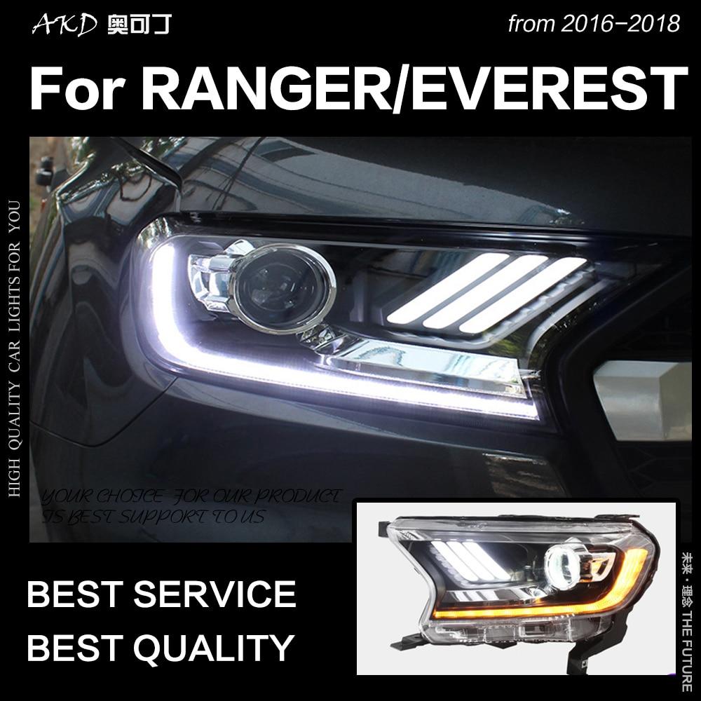 AKD voiture style pour Ford Everest Ranger phares 2016-2018 dynamique clignotant phare LED DRL Hid Bi xénon Auto accessoires