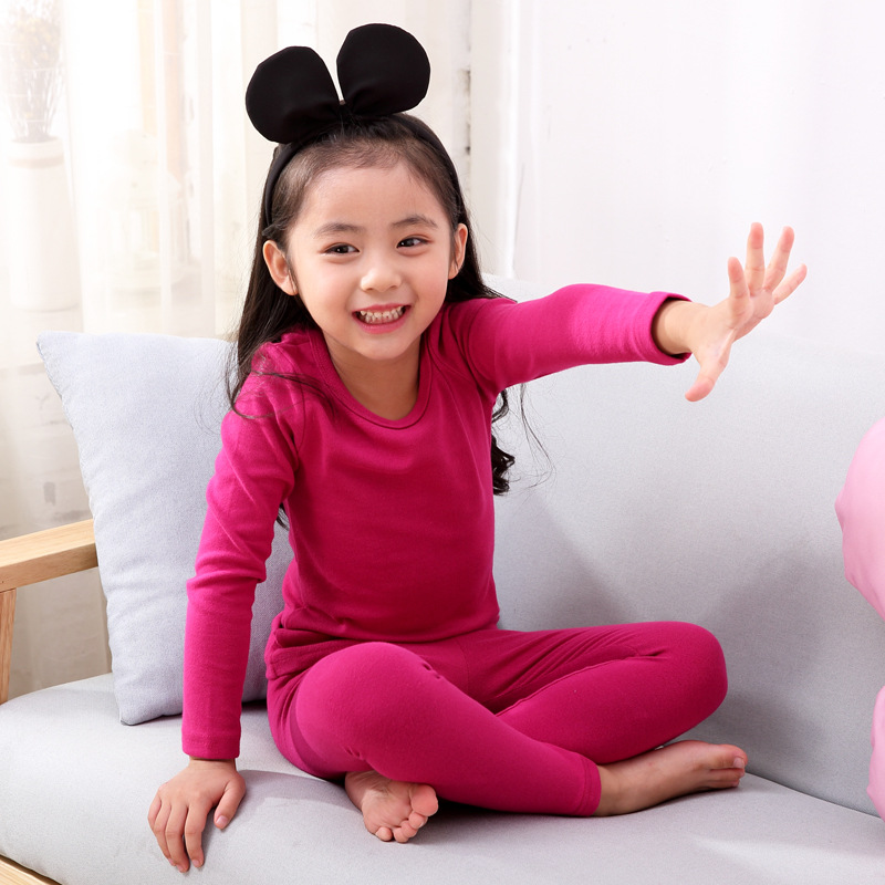 Winter Candy Girls Pajamas Warm Baby Girl Clothes Cotton  Thermal Underwear children's Suits Long Sleeved Boy Outfits 2 Pc Set