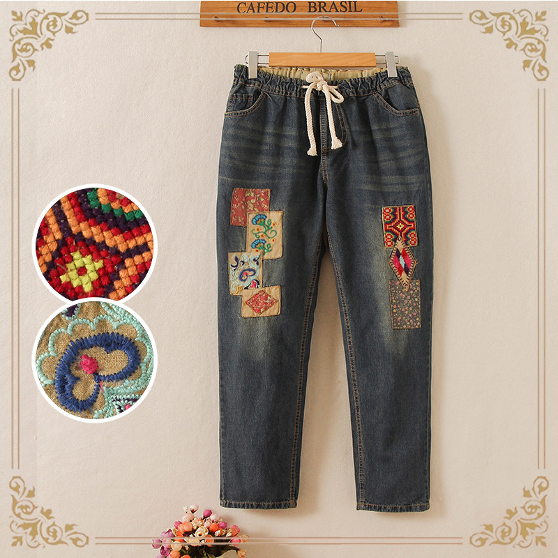 Special  fall   new national wind embroidery  mm embroidered patches  jeans significantly thin large yards  pants national wind embroidery lace up neck dress