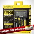 Original Nitecore D4 Digicharger D2 LCD Seguro Global de Circuito Inteligente de iões de lítio 18650 14500 16340 26650 Carregador de Bateria