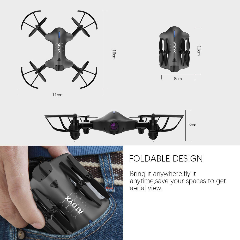 Mini Camera Drone HD Hot Quadcopter FVP WIFI Wide Angle HD High Hold Mode Foldable Arms RC UAV Dron 2 Colors Shipped From Spain in RC Helicopters from Toys Hobbies