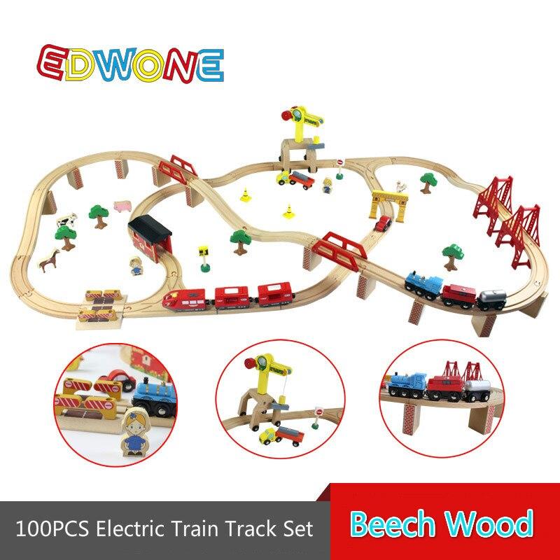 100 PCS Thomas Train Électrique Piste Ensemble En Bois Voie Ferrée EDWONE Fit pour Thomas Thomas & Friends Train et Brio Cadeaux Pour Enfants