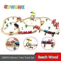 100 STKS Thomas Elektrische Trein Spoor Set Houten Spoorlijn EDWONE Fit voor Thomas Thomas & Friends Trein en Brio Geschenken Voor Kinderen