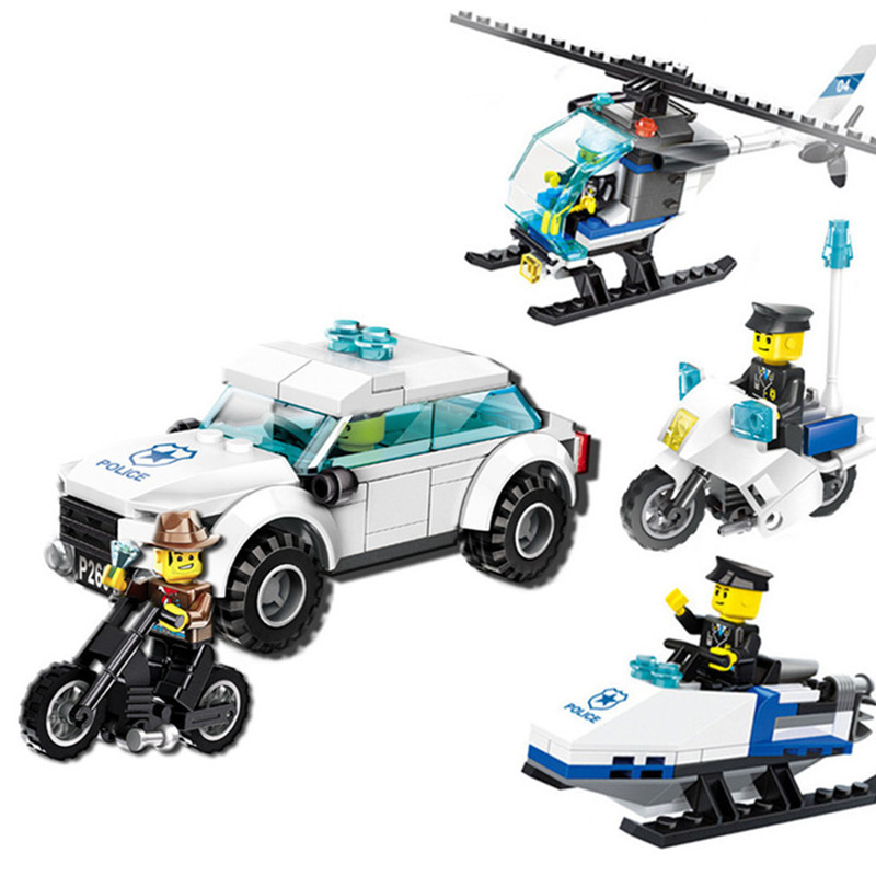 City Police Buildng Toys Policeman Figures Car Motorcycle Helicopter Models Enlighten Brick Blocks Assembly Toy For Kids city series police car motorcycle building blocks policeman models toys for children boy gifts compatible with legoeinglys 26014