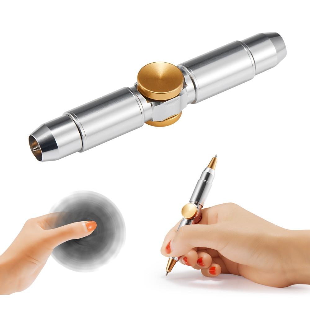 Coolmee Fidget Spinner Metal Pen , Novelty Fidget Spinner Anti Stress Pen For School Pen Interesting Funny Toys Ballpoint Pen стоимость