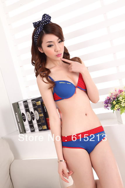 1d4d15676a Free shipping New design push up bra panty set ladies cartoon style  underwear superman