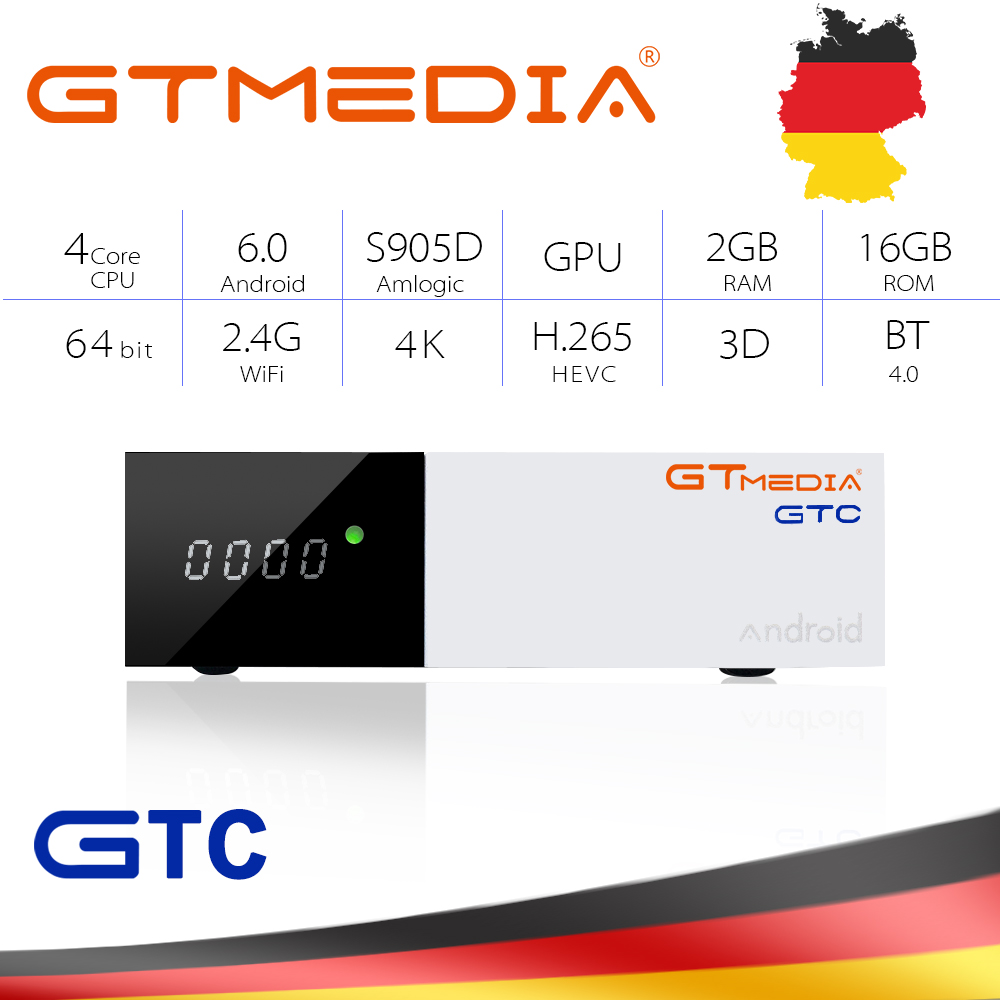 Gt Media Freesat GTC Android 6.0 TV BOX DVB-S2/T2/Cable/ISDBT Amlogic S905D 2GB RAM 16GB ROM Freesat + 1 Year Free CCcam Gift