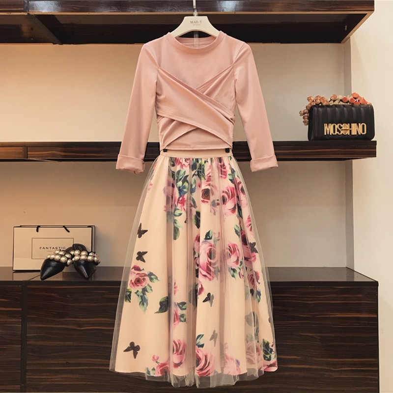 HIGH QUALITY Women Irregular Bowknot Solid Tops Vintage Floral T Shirt+Mesh Skirts Suits Skirt Sets Elegant Woman Two Piece Set