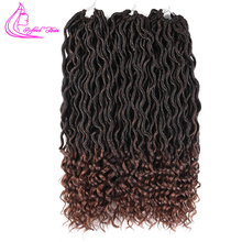 Refined Hair 18Inch Goddess Crochet Braids Synthetic Braiding Extensions 24Roots Bohemian Wavy Faux Locs with Free End