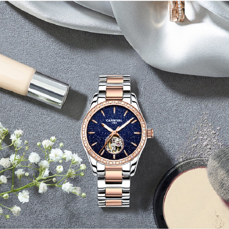 Montre femme 2018 relojes mecánicos de lujo mujer Tourbillon carnaval reloj automático mujeres diamantes círculo luminoso impermeable-in Relojes de mujer from Relojes de pulsera    2