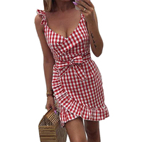 2019 новое летнее красное клетчатое платье винтажное пляжное бохо платье уличная с оборками на бретельках с v-образным вырезом сексуальные ве...