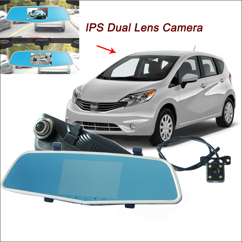BigBigRoad For nissan Versa Car DVR Video Recorder Rearview Mirror Dual Lens 5 Inch IPS Screen Dash Cam FHD 1080P Night Vision