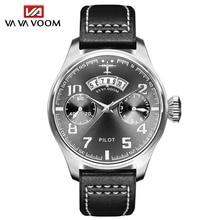 New Fashion Mens Sports Military Watches Leisure Business Watch Man Calendar Pilot Leather Belt Quartz Waterproof Wrist