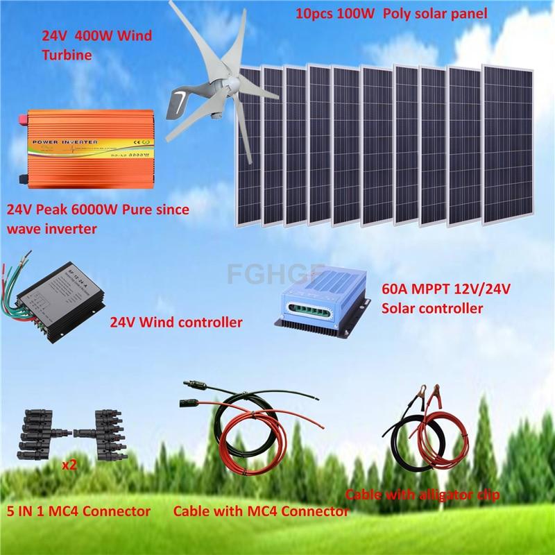 Kit de système hybride 1400 W: éolienne 400 W et panneau solaire Poly 10*100 W + pic 6000 W pur depuis onduleur + accessoires