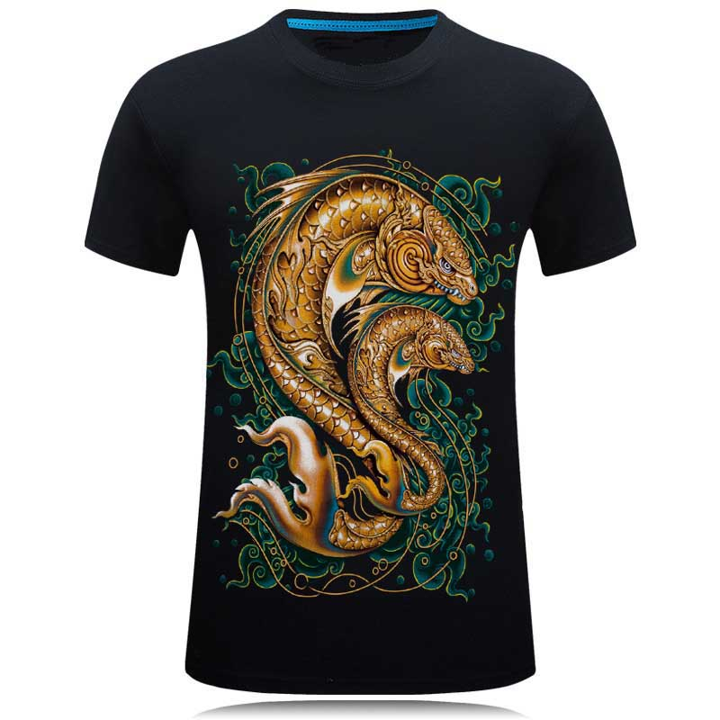 SWENEARO Nuovo design nero 3d Fish T-shirt in cotone maschio Slim Fit t-shirt amanti t-shirt casual mujer top divertenti tees top