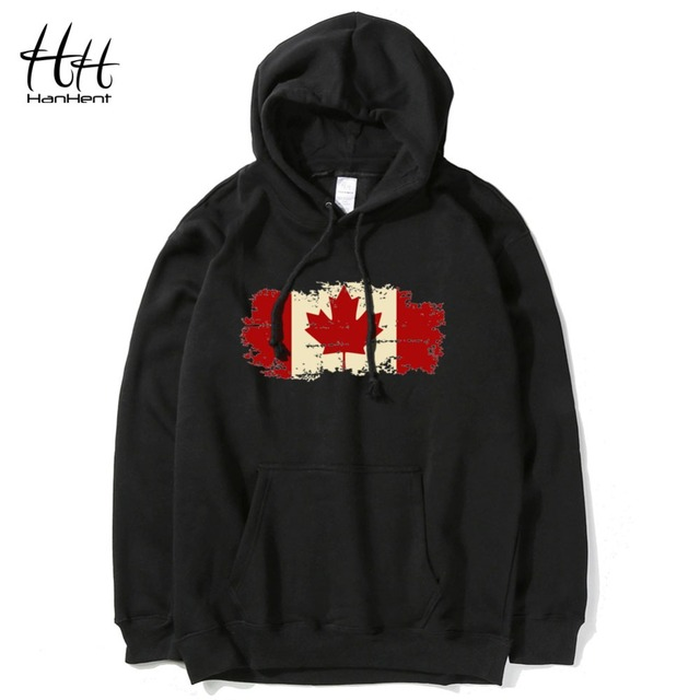 HanHent Canada Leaf Hoodies Man Canadian Flag Printed Men Sweatshirts Hooded Streetwear Pullover Clothes Bodybuilding HO0570