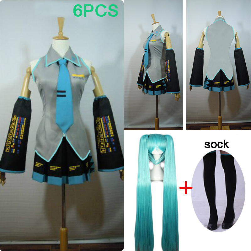 6 шт. высокое качество Хацунэ Мику Love is Wall Vocaloid Мику Хацунэ косплей костюм платье костюм есть парик Хэллоуин Необычные вечерние бальные