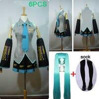 6 PCS Hohe qualität Hatsune Miku Liebe ist Wand Vocaloid Miku Hatsune Cosplay Kostüm kleid anzug haben perücke halloween phantasie ball party