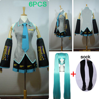6PCS High quality Hatsune Miku Love is Wall Vocaloid Miku Hatsune Cosplay Costume dress suit have wig halloween fancy ball party