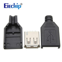 Free Shipping 10pcs USB 4 Pin Plug Socket Jack Connector Plug Socket With Black Plastic Cover