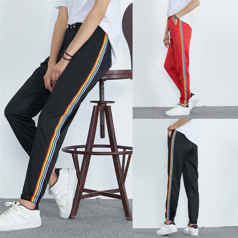 Sports Running Pants Striped Print Women Jogging Pants Mid-Waist Fitness Sports Yoga Athletic Pocket Running Pant 0907