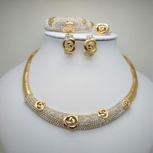 Christmas gift Fashion Vintage Clear Crystal Gold Color African Bridal Costume Jewelry Sets Nigerian Wedding