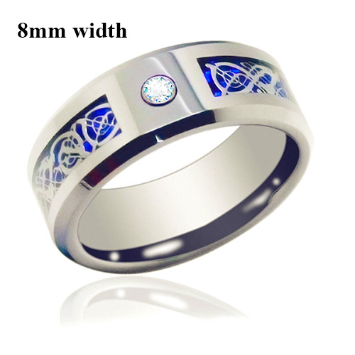 6mm /8mm Blue Silvering CZ Celtic Dragon Tungsten Carbide Ring Mens Jewelry Wedding Band Size 5-13