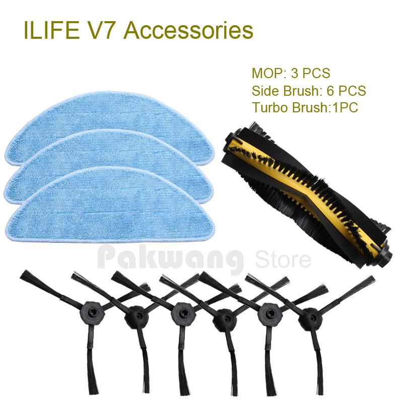 Original ILIFE V7 Robot Vacuum Cleaner Parts and Accessories from the factory, including Mop, Side Brush and Turbo brush original ilife v5 mop for robot vacuum cleaner ilife model 2016 new spare parts replacement from factory 1 pc free shipping