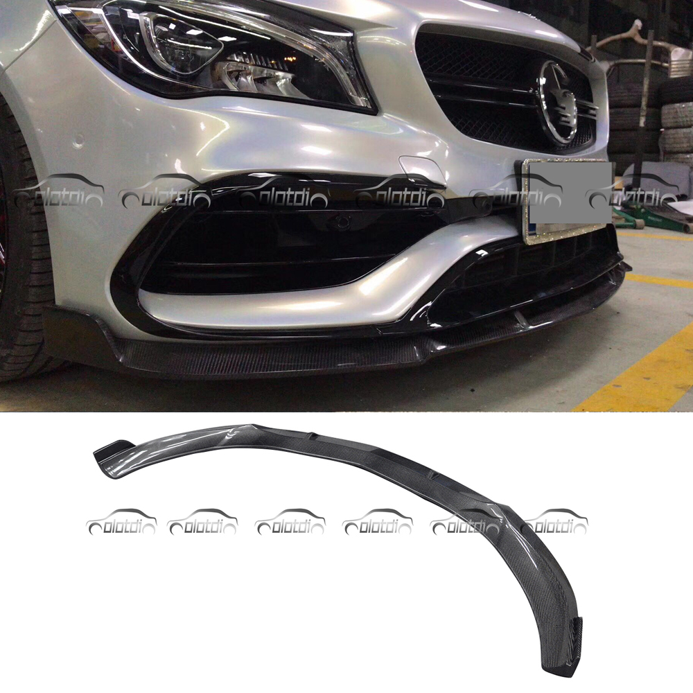 For BRABUS Style Real Carbon Fiber Front Lip Spoiler for Mercedes Benz W117 CLA AMG CLA45 2015 up for mercedes benz cla class w117 cla180 cla200 cla250 cla45 amg carbon fiber front lip splitter flap canard fits sporty car amg