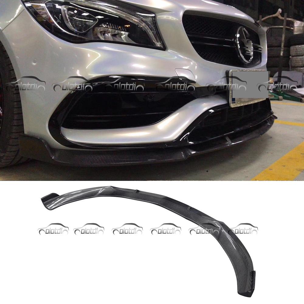 For BRABUS Style Real Carbon Fiber Front Lip Spoiler for Mercedes Benz W117 CLA AMG CLA45 2015 up r1 style for mercedes benz w117 cla amg cla45 car styling carbon fiber front lip bumper