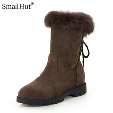 Cross Strap Low Heel Snow Boots Winter Women Fashion Height Increasing Shoes D077 Ladies Warm Black Gray Khaki Brown Ankle