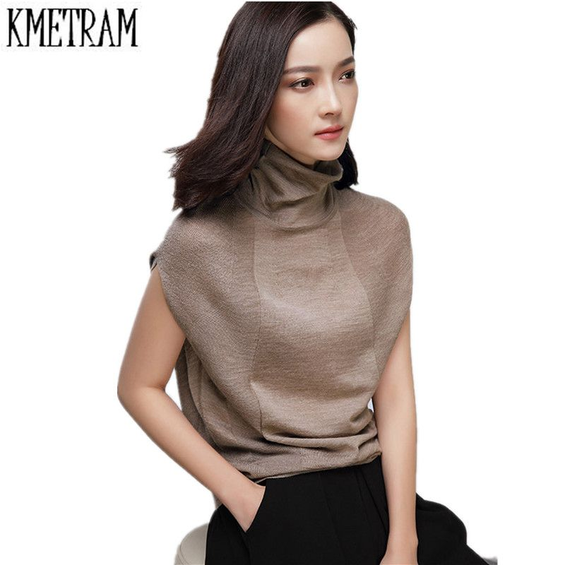 2016 Fashion European Style Wool Knitted Women Sweaters Spring Autumn Sleeveless Turtleneck
