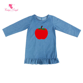 Kaiya Angel Kids Dresses Demin Long Sleeve Kids Clothes Girls Dress Baby Girl Autumn Dress With Apple Wholesale 1-8T