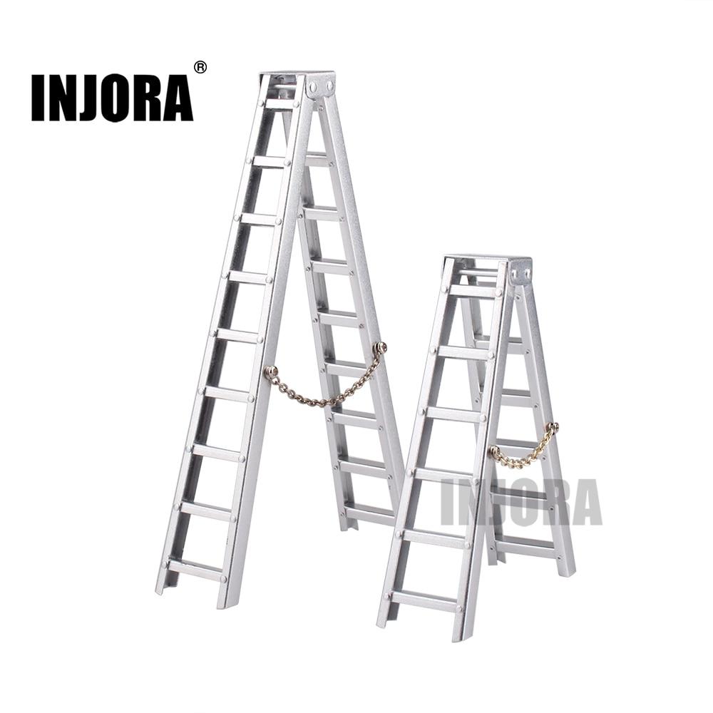 INJORA 100MM 150MM Aluminum Mini Ladder for 1:10 RC Rock Crawler Axial SCX10 90046 RC4WD D90 D110 TAMIYA CC01 Traxxas TRX-4 2pcs set aluminum piggyback shock absorber springs suspension for 1 10 rc crawler car axial scx10 wrangler d90 cc01