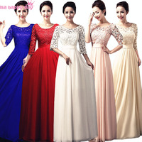 dark blue petal pink bridesmaid long occasion women dress with sleeves champagne mother of the bride gown dresses B2852