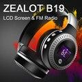 ZEALOT B19 Беспроводные Bluetooth Наушники с ЖК-Экран Fm-радио hi-fi Stereo Bass Гарнитура Handsfree Телефонный Звонок Микрофон TF Музыка играть