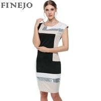 FINEJO Women Contrast Color Party Dress M XXXL Fashion Plus Size Geometrical Patchwork Short Sleeve O