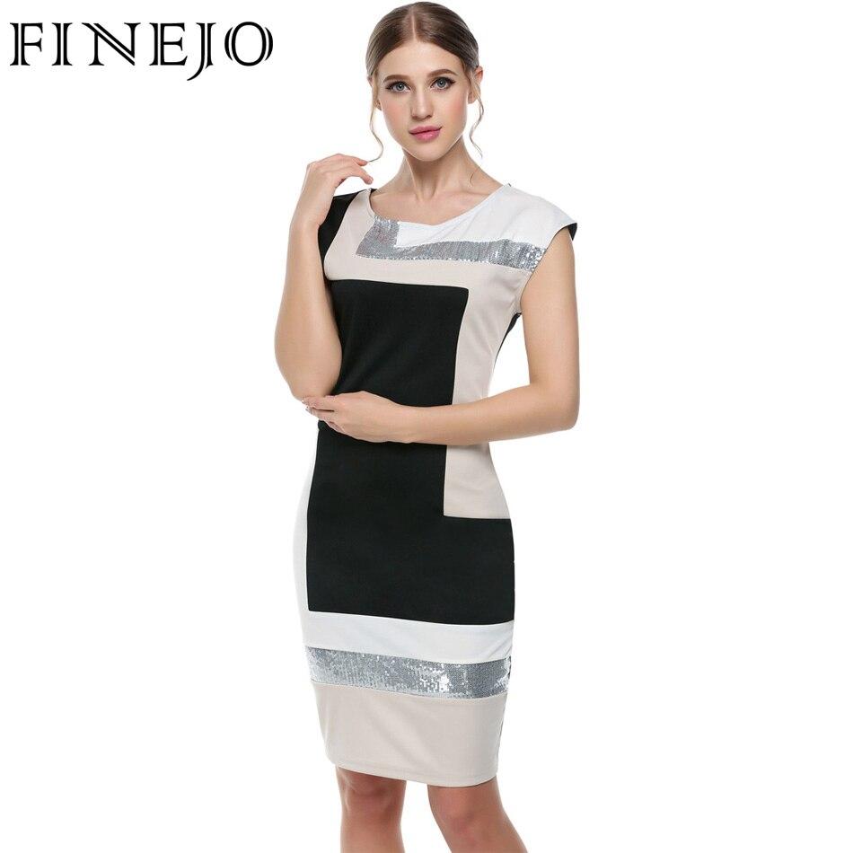 FINEJO Femmes Contraste Couleur Partie Dress M-XXXL De Mode Plus La Taille Géométrique Patchwork Manches Courtes O-cou Crayon Moulante Dress