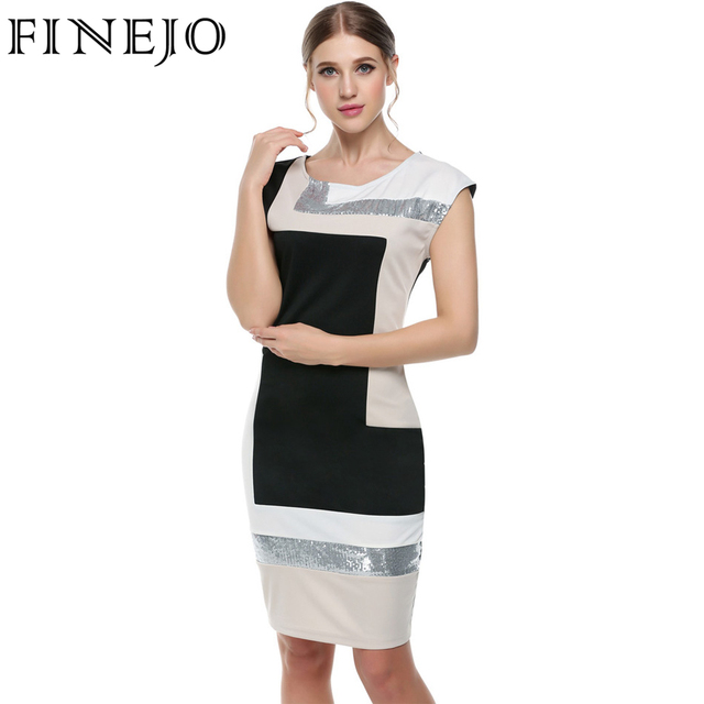 920b0b4b06 FINEJO Women Contrast Color Party Dress M-XXXL Fashion Plus Size  Geometrical Patchwork Short Sleeve O-neck Pencil Bodycon Dress