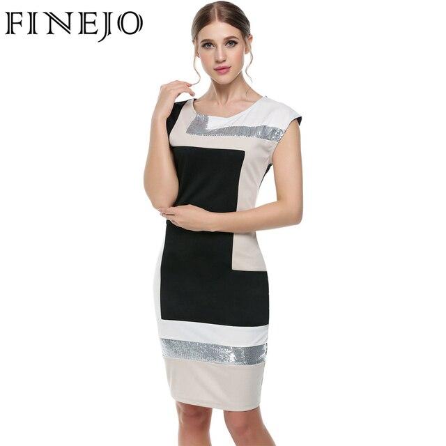 FINEJO Women Contrast Color Party Dress M-XXXL Fashion Plus Size Geometrical Patchwork Short Sleeve O-neck Pencil Bodycon Dress