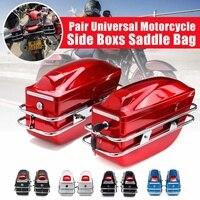 Pair Universal Motorcycle Side Boxs Luggage Tank Tail Tool Bag Hard Case Saddle Bags For Kawasaki/Harley/Honda/Yamaha