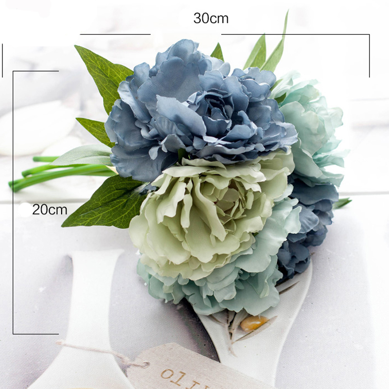 ΞArtificial Flowers Peony Bouquet Fake Flower Hydrangea Bridal ...