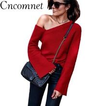 купить Womens Sexy Off Shoulder Sweater Ladies Winter Flare Sleeve Knitwear Solid Strapless Basic Pullover по цене 545.75 рублей