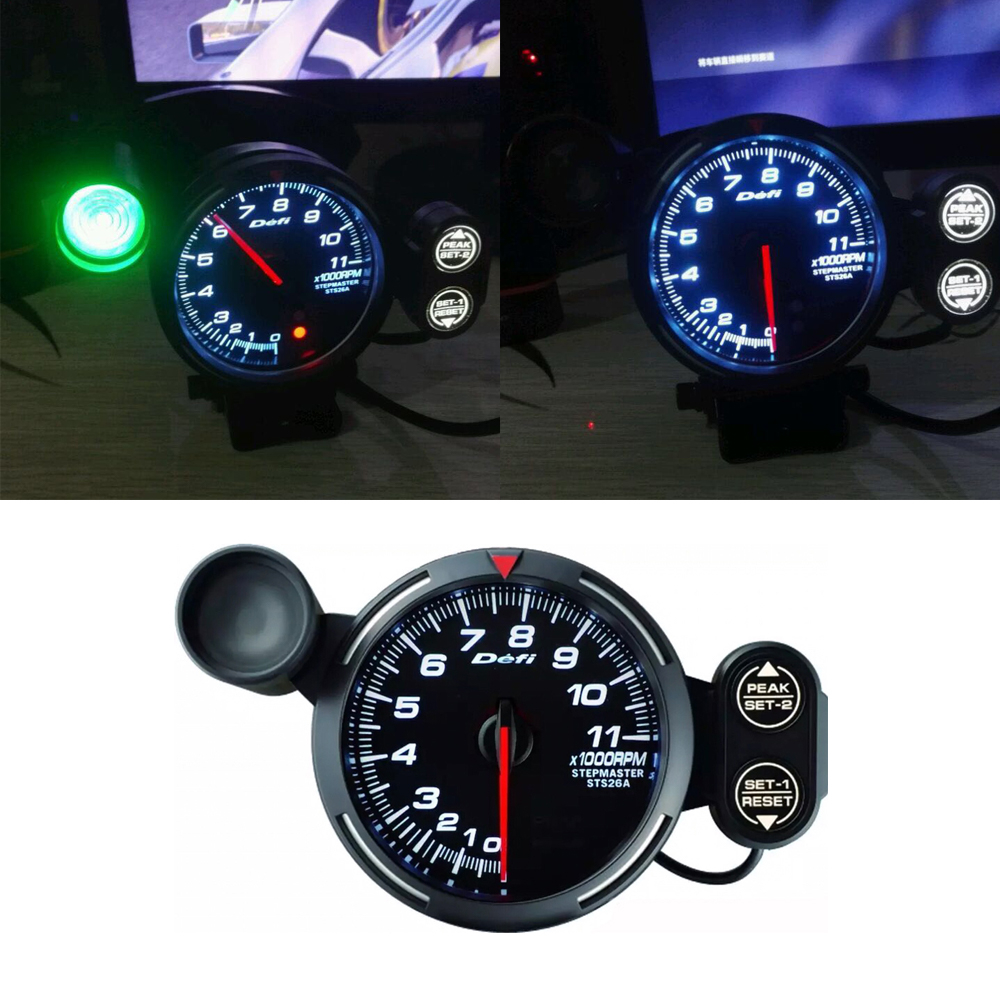 Simulated racing game meter 12V RPM Tachometer FOR PC GAME 11000 RPM Aluminum image