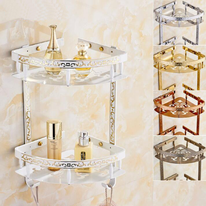 Wall Mounted Brass Bathroom Soap Dish Dual Tier Bath Shower Shelf Carved Bath Shampoo Holder Basket Holder white Corner shelf european style brass antique bronze solid brass bathroom soap holder soap basket bathroom accessories soap dish bathroom shelf