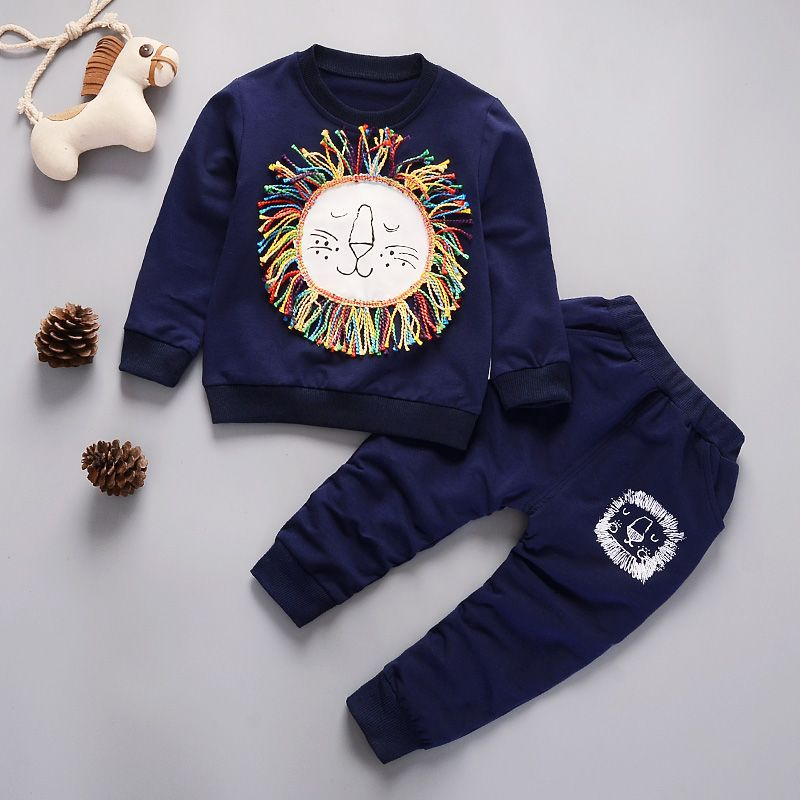 2019 Children Clothing 2pcs sets shirt pants Fashion lion baby Boy Kid Autumn Spring Suit Fall Cotton sport tracksuit outdoor in Clothing Sets from Mother Kids